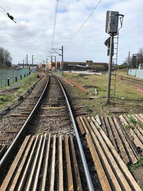 Railway track approaching King's Lynn station