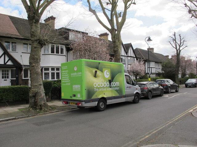 Ocado grocery delivery van, West Acton