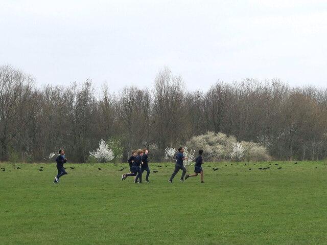 School PT class running, Wormwood Scrubs