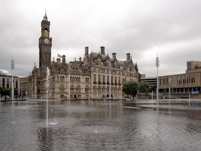 City Hall seen across the Mirror Pool, Bradford
