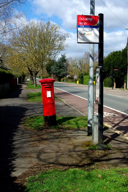 Georgian postbox and bus stop on Huntingdon Road