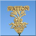TF9100 : Watton town sign by Adrian S Pye