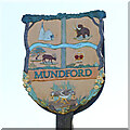 TL8093 : Mundford village sign (north face) by Adrian S Pye