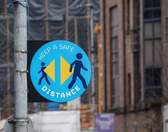 Social distancing sign, Belfast