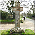 TF7429 : Anmer village sign  (scout) by Adrian S Pye