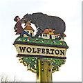 TF6628 : Wolferton village sign by Adrian S Pye