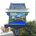 TF7343 : Thornham village sign (west face) by Adrian S Pye