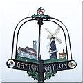 TF7319 : Gayton village sign - detail by Adrian S Pye