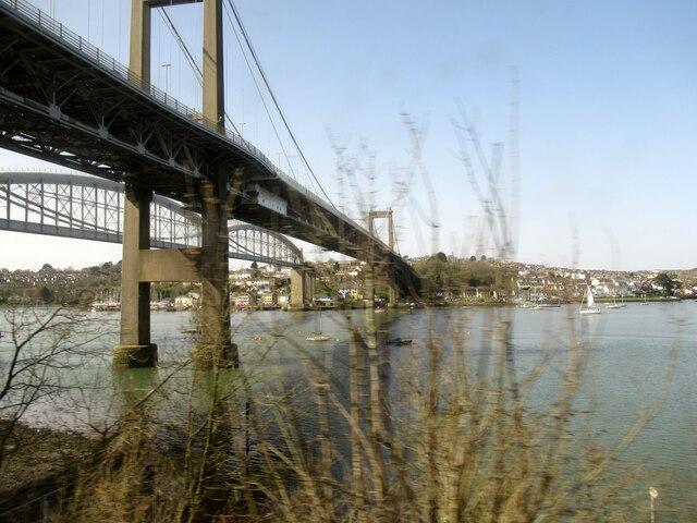 The Tamar Bridges from the Tamar Valley Railway