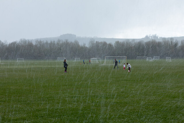 Snap hail storm on King George V playing fields