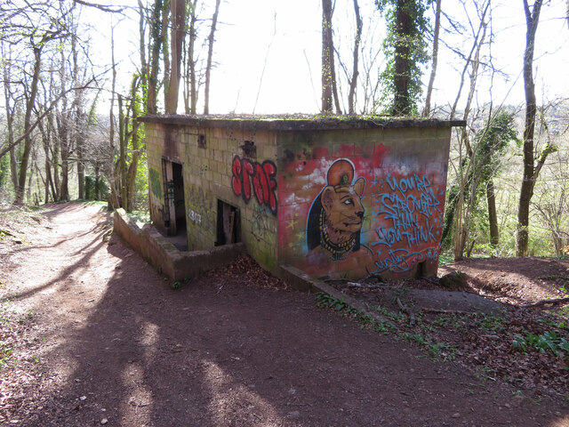 Derelict electricity sub-station in Garth Wood
