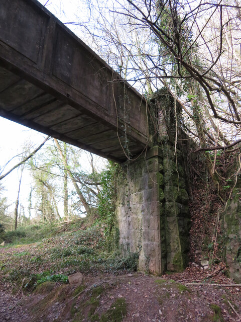 Abutment of footbridge over trackbed of the Barry Railway