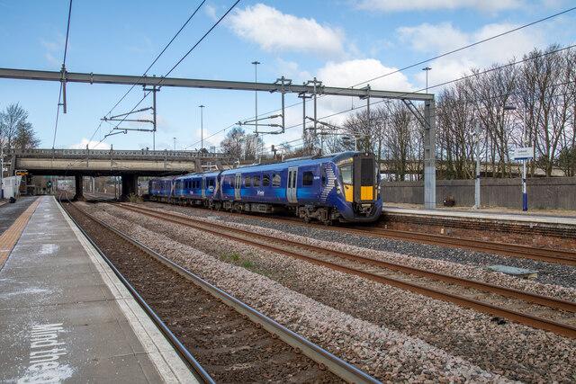 A Scotrail Class 385 Electric Train at Platform 1 of Cardonald Railway Station