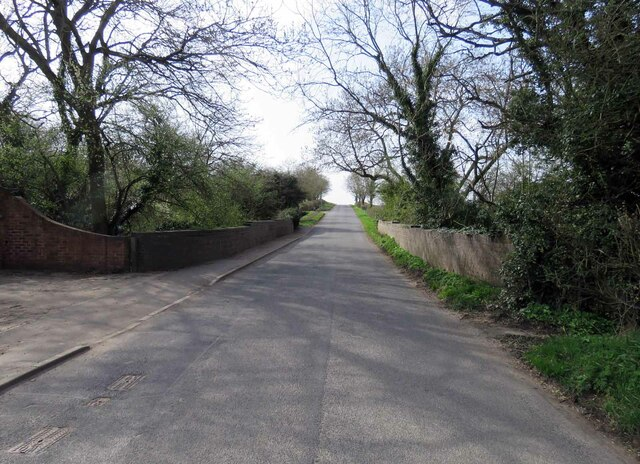 Leire Road westwards on bridge over former railway