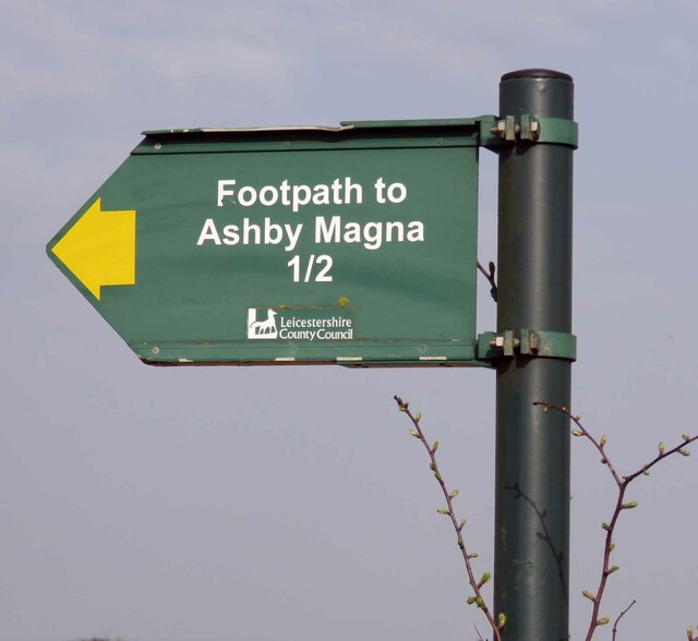 Roadside sign for footpath to Ashby Magna by Andrew Tatlow