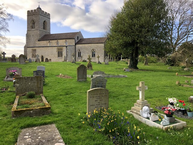 The churchyard at St Lawrence, Weston Underwood by Philip Jeffrey