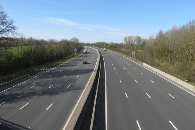Looking North along the M1 by Whilton by Philip Jeffrey