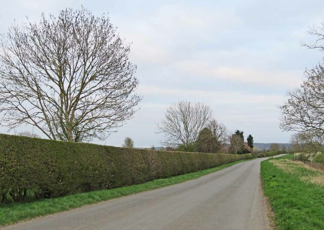 Harby Lane eastwards past Langar Grange