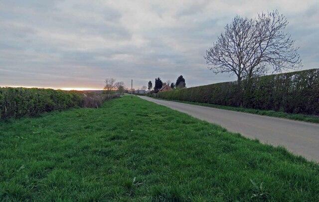 Harby Lane towards Colston Bassett at sunset by Andrew Tatlow