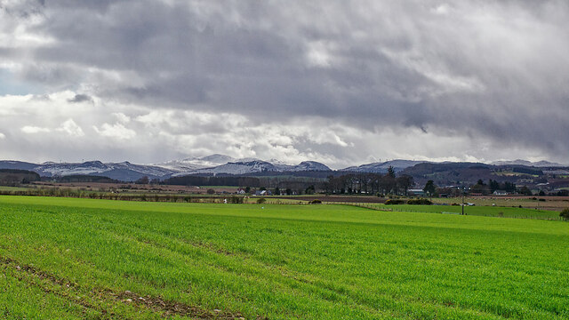 Fields of Drummondreach and distant mountains