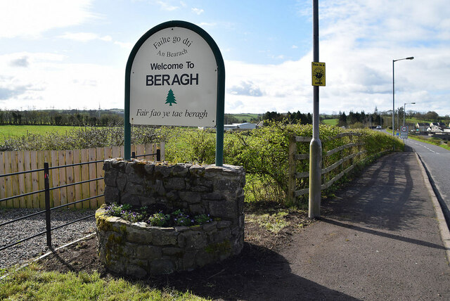 """""""Welcome to Beragh"""" notice along Cooley Road"""