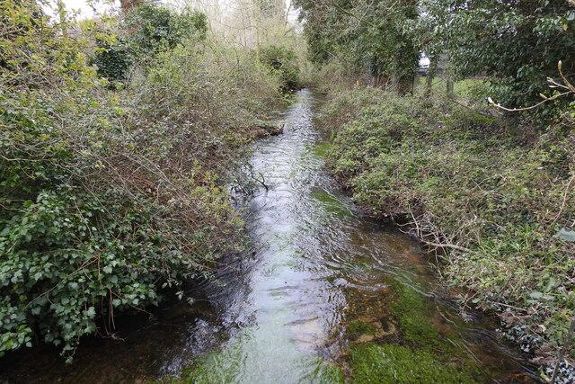 River Gadder from the bridge on Gooderstone Road