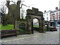 SJ7419 : The churchyard walls, gateway & gatepiers of St Nicholas', Newport by Richard Law