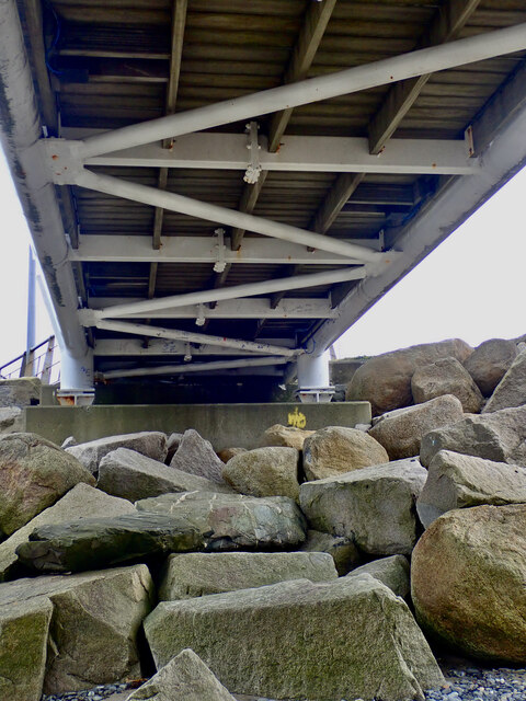 Below the southern section of the deck of the Newcastle Promenade Footbridge