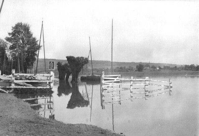 River Avon flooded over Avon Sailing Club, Twyning