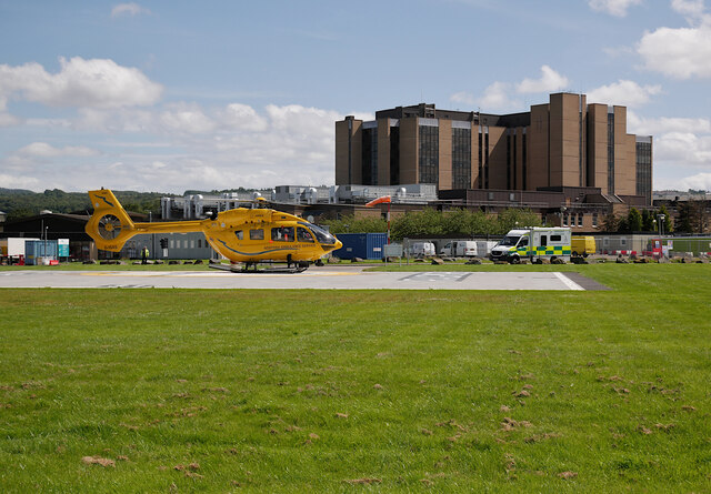 Air ambulance, landing at Raigmore Hospital