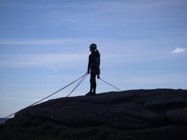 Rock climber on Stanage Edge