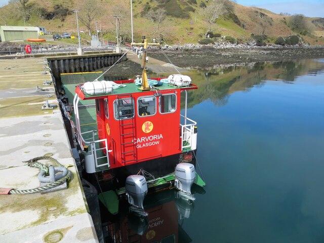 CalMac ferry Carvoria berthed at Kerrera pier