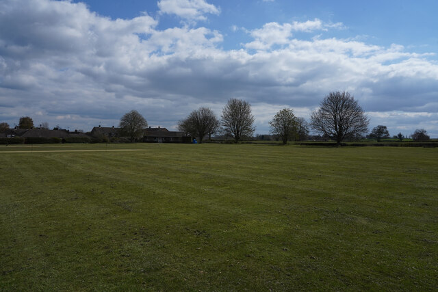 Looking across the cricket pitch