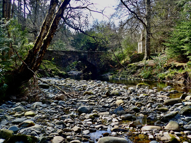 View upriver towards Tollymore's Ivy Bridge