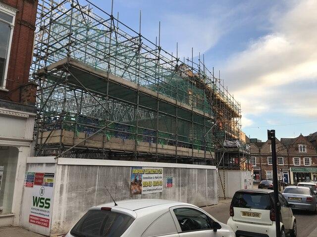 Scaffolding in High Street, Wisbech