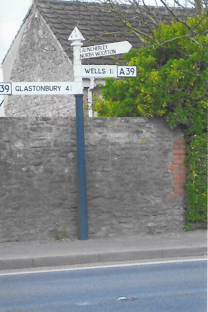 Direction Sign – Signpost on the A39 at Coxley