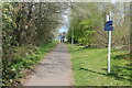 ST3085 : Cycle path by A48 roundabout, Maes-glas by M J Roscoe