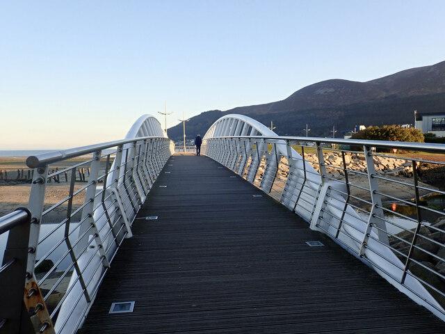 Late evening stroller on the Newcastle Promenade Footbridge