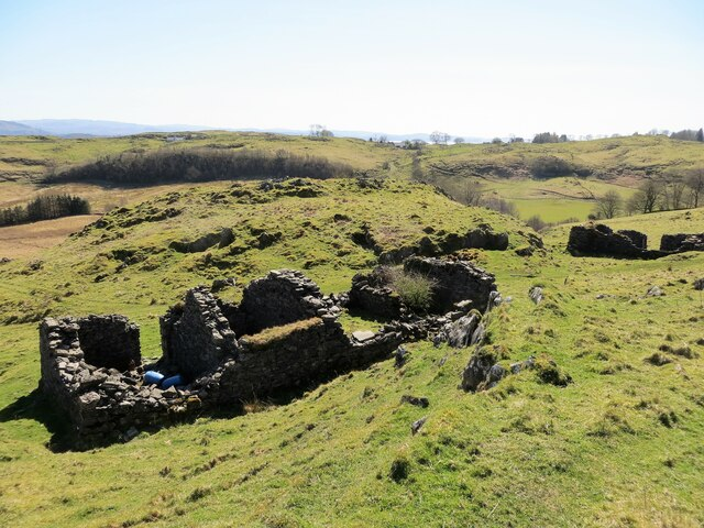 Remains of an old crofthouse on the slopes of Creag Sgeanach