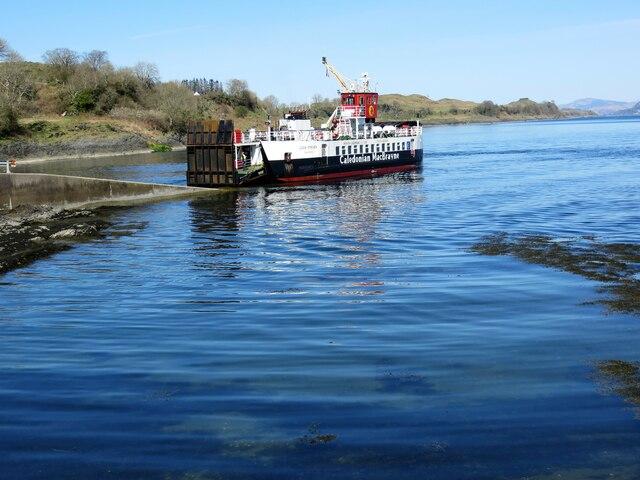 CalMac ferry, Loch Striven approaching Achnacroish slipway, Lismore