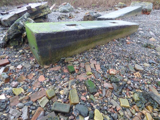 Old concrete blocks at Garvel Point