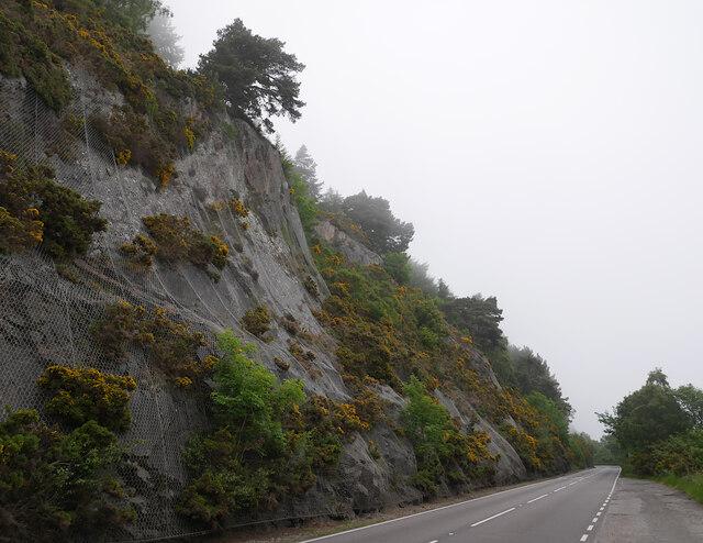 Rocky slopes above the A82, by Loch Ness