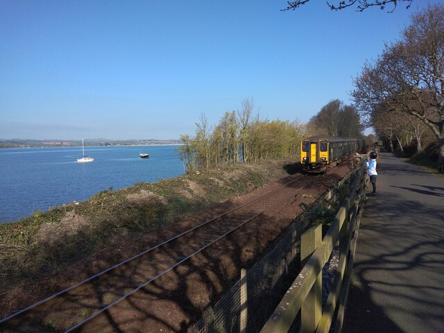 River, railway and cycle track, Lympstone