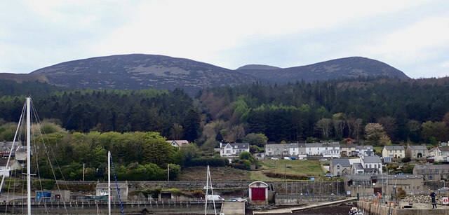 Scorched slopes of Millstone Mountain, Thomas's Mountain and Slieve Donard from Newcastle Harbour