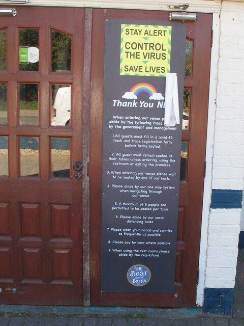 Virus control rules at public house, Harefield