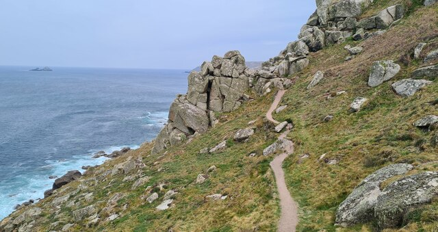 The South West Coast Path approaching Aire Point from the south