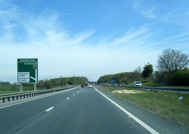 A64 nearing Headley Bar junction