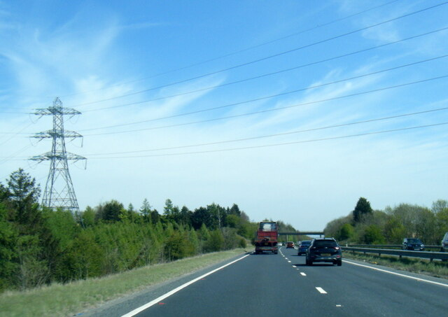 A64 passes under power lines