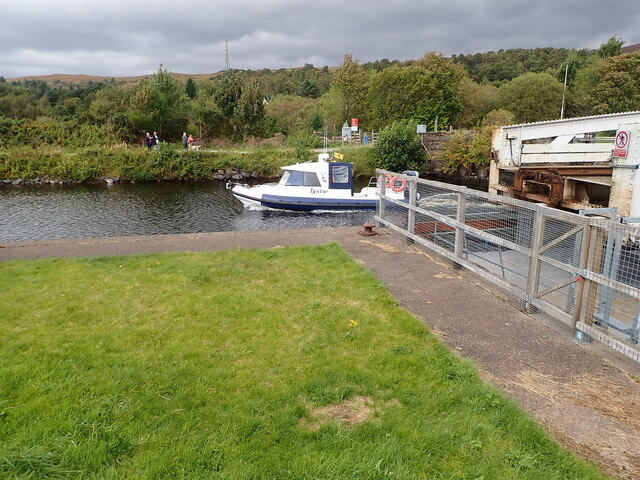 """""""Tystie"""" going down the Caledonian Canal"""