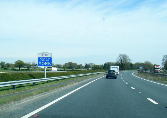 A64 at City of York boundary near Askham Bryan